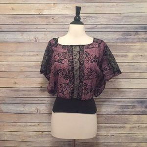 Free People Purple And Black Shirt